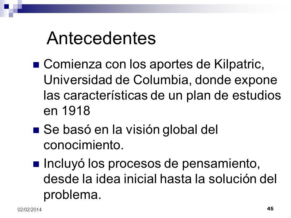 Antecedentes Comienza con los aportes de Kilpatric, Universidad de Columbia, donde expone las características de un plan de estudios en 1918 Se basó e