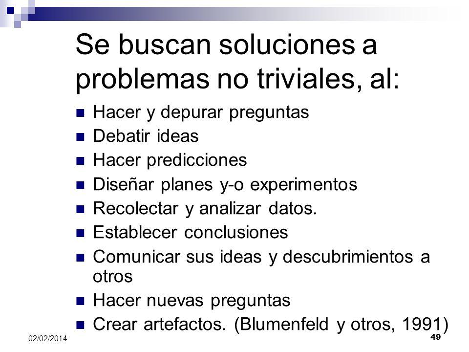 Se buscan soluciones a problemas no triviales, al: Hacer y depurar preguntas Debatir ideas Hacer predicciones Diseñar planes y-o experimentos Recolect