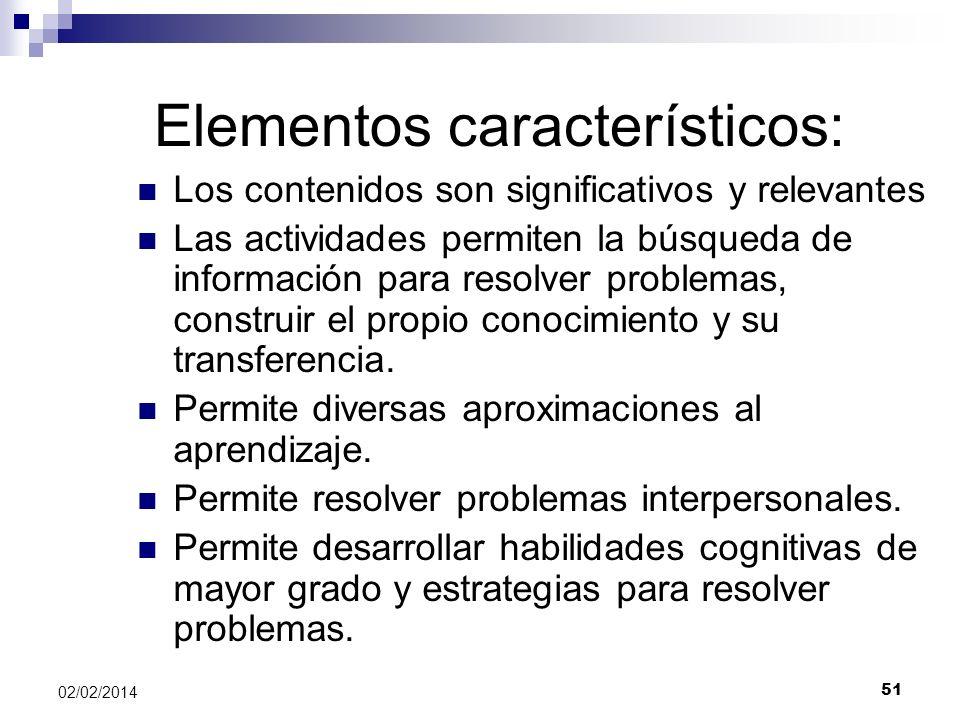 Elementos característicos: Los contenidos son significativos y relevantes Las actividades permiten la búsqueda de información para resolver problemas,