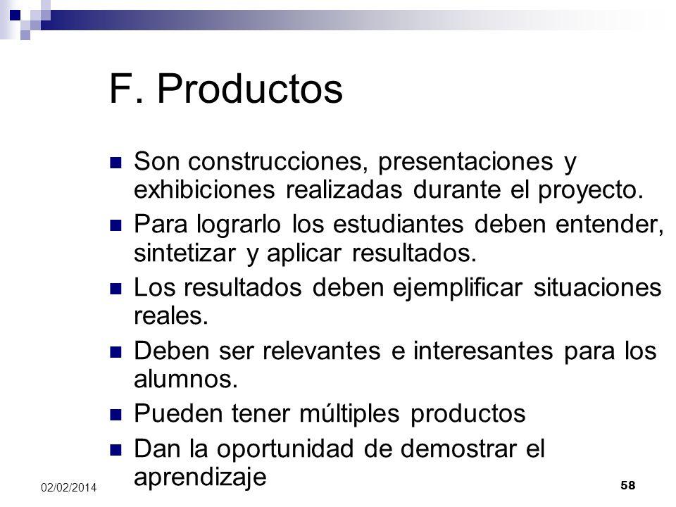 F. Productos Son construcciones, presentaciones y exhibiciones realizadas durante el proyecto. Para lograrlo los estudiantes deben entender, sintetiza