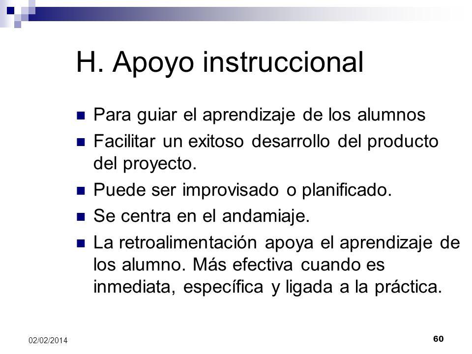 H. Apoyo instruccional Para guiar el aprendizaje de los alumnos Facilitar un exitoso desarrollo del producto del proyecto. Puede ser improvisado o pla