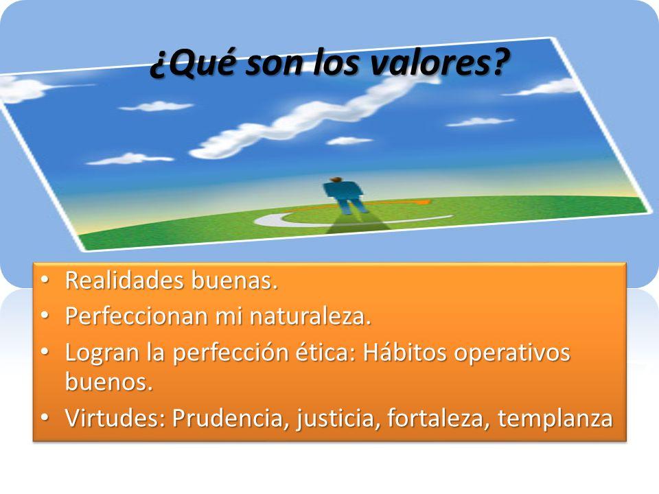 ¿Qué son los valores? Realidades buenas. Realidades buenas. Perfeccionan mi naturaleza. Perfeccionan mi naturaleza. Logran la perfección ética: Hábito
