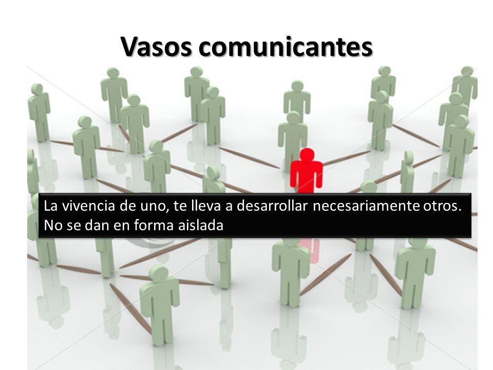 Vasos comunicantes La vivencia de uno, te lleva a desarrollar necesariamente otros. No se dan en forma aislada La vivencia de uno, te lleva a desarrol