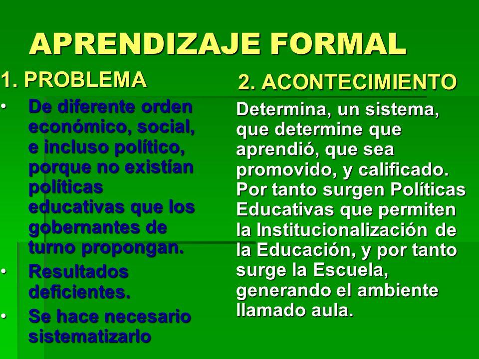 APRENDIZAJE FORMAL 1. PROBLEMA De diferente orden económico, social, e incluso político, porque no existían políticas educativas que los gobernantes d