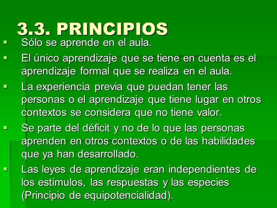 3.3. PRINCIPIOS Sólo se aprende en el aula. Sólo se aprende en el aula. El único aprendizaje que se tiene en cuenta es el aprendizaje formal que se re