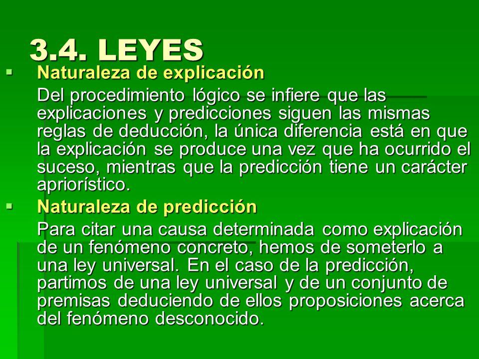 3.4. LEYES Naturaleza de explicación Naturaleza de explicación Del procedimiento lógico se infiere que las explicaciones y predicciones siguen las mis