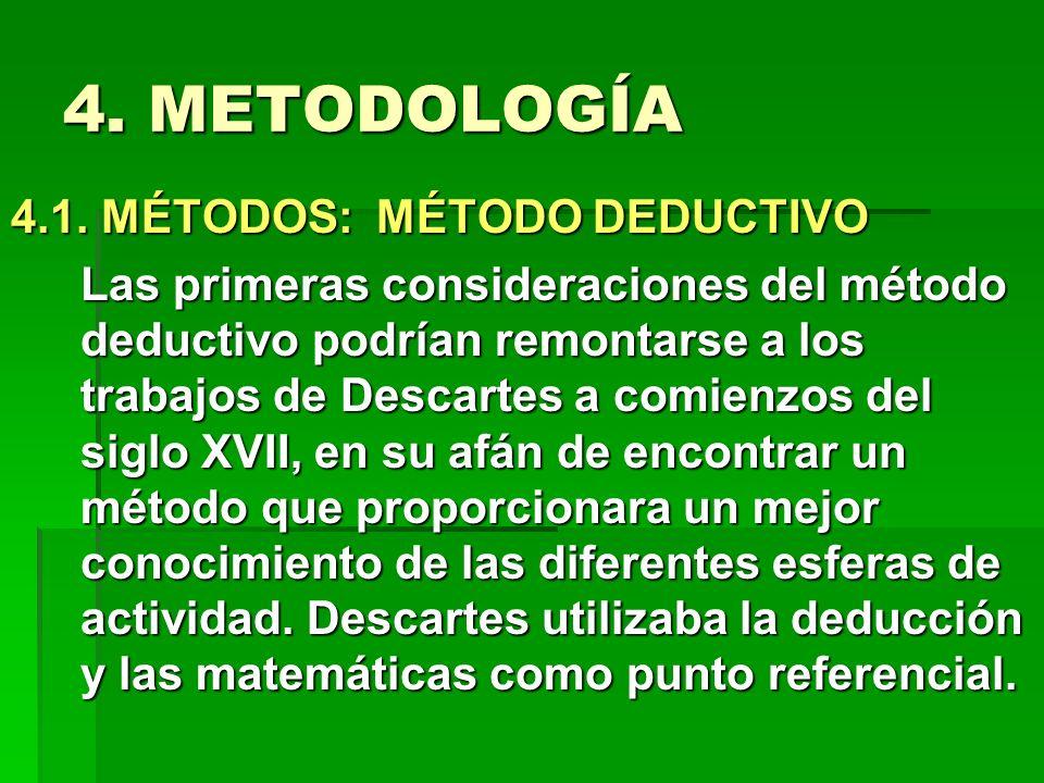4. METODOLOGÍA 4.1. MÉTODOS: MÉTODO DEDUCTIVO Las primeras consideraciones del método deductivo podrían remontarse a los trabajos de Descartes a comie