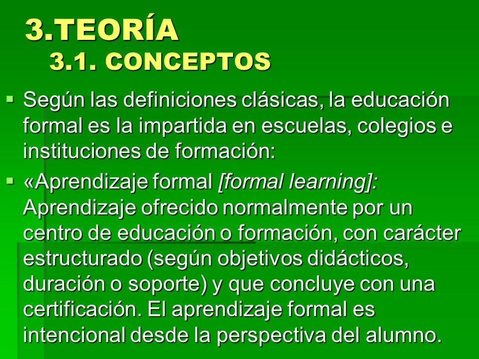 3.TEORÍA 3.1. CONCEPTOS 3.TEORÍA 3.1. CONCEPTOS Según las definiciones clásicas, la educación formal es la impartida en escuelas, colegios e instituci