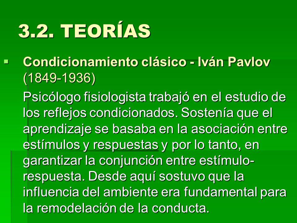 3.2. TEORÍAS Condicionamiento clásico - Iván Pavlov (1849-1936) Condicionamiento clásico - Iván Pavlov (1849-1936) Psicólogo fisiologista trabajó en e