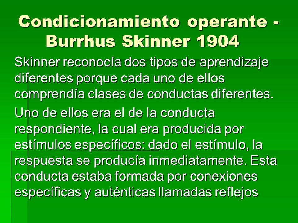 Condicionamiento operante - Burrhus Skinner 1904 Skinner reconocía dos tipos de aprendizaje diferentes porque cada uno de ellos comprendía clases de c