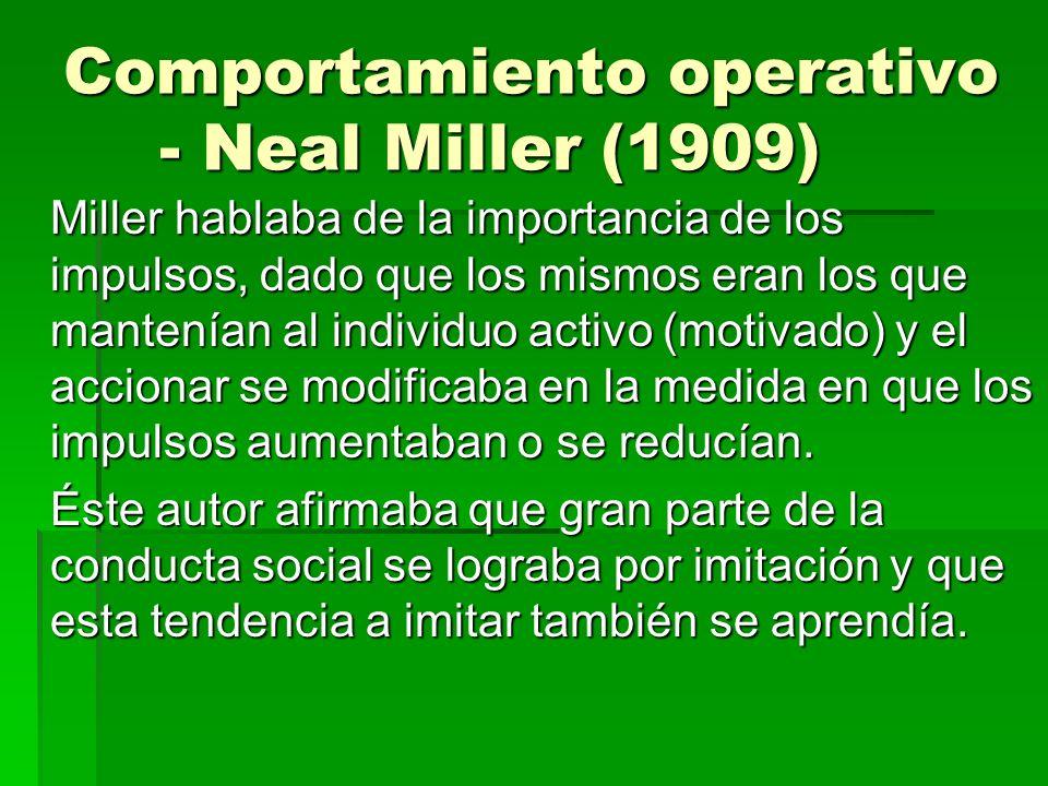 Comportamiento operativo - Neal Miller (1909) Miller hablaba de la importancia de los impulsos, dado que los mismos eran los que mantenían al individu
