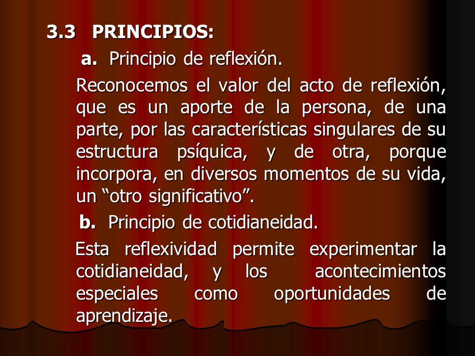 3.3 PRINCIPIOS: a. Principio de reflexión. a. Principio de reflexión. Reconocemos el valor del acto de reflexión, que es un aporte de la persona, de u