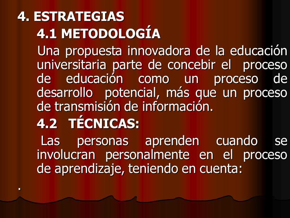 4. ESTRATEGIAS 4.1 METODOLOGÍA Una propuesta innovadora de la educación universitaria parte de concebir el proceso de educación como un proceso de des