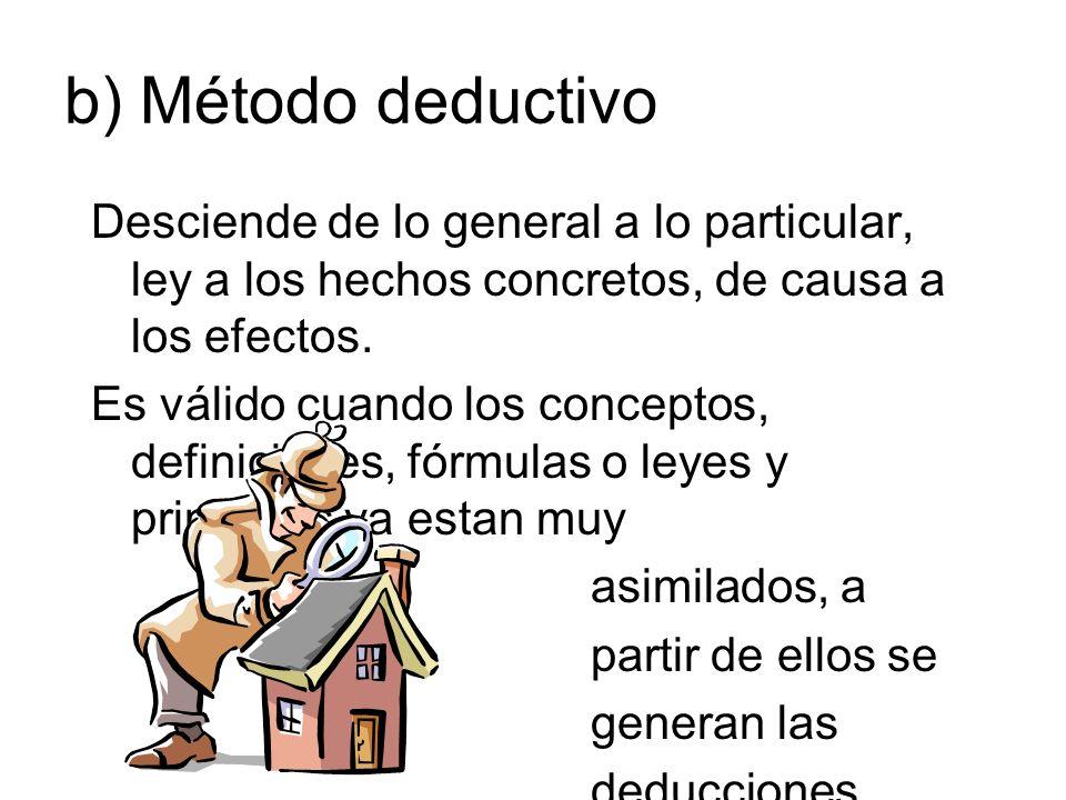 b) Método deductivo Desciende de lo general a lo particular, ley a los hechos concretos, de causa a los efectos. Es válido cuando los conceptos, defin