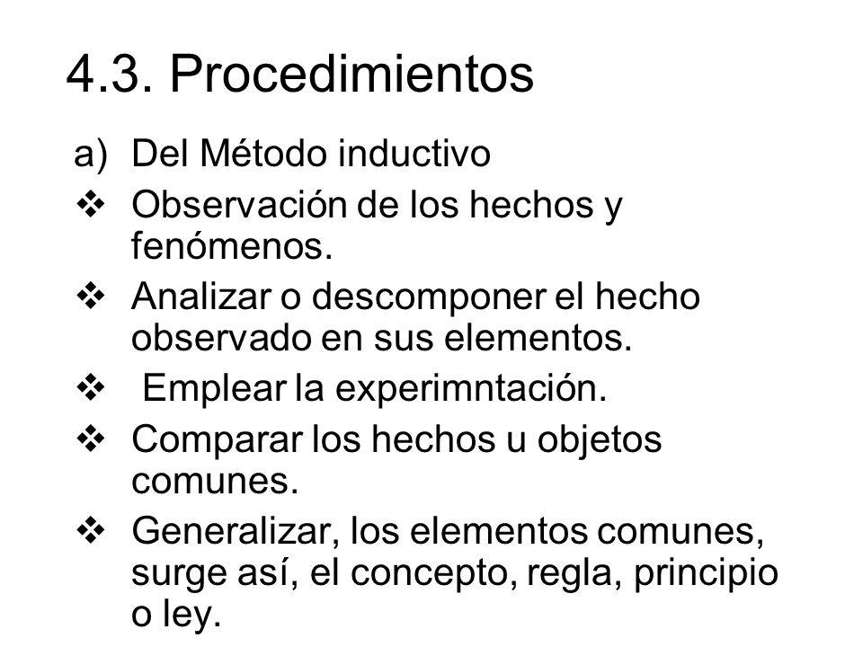 4.3. Procedimientos a)Del Método inductivo Observación de los hechos y fenómenos. Analizar o descomponer el hecho observado en sus elementos. Emplear