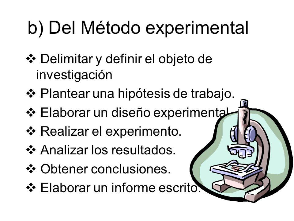 b) Del Método experimental Delimitar y definir el objeto de investigación Plantear una hipótesis de trabajo. Elaborar un diseño experimental. Realizar