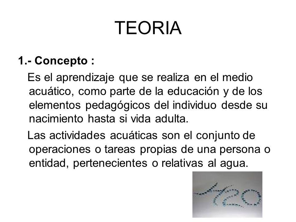 TEORIA 1.- Concepto : Es el aprendizaje que se realiza en el medio acuático, como parte de la educación y de los elementos pedagógicos del individuo d