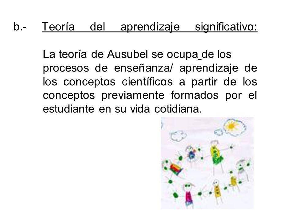 b.- Teoría del aprendizaje significativo: La teoría de Ausubel se ocupa de los procesos de enseñanza/ aprendizaje de los conceptos científicos a parti