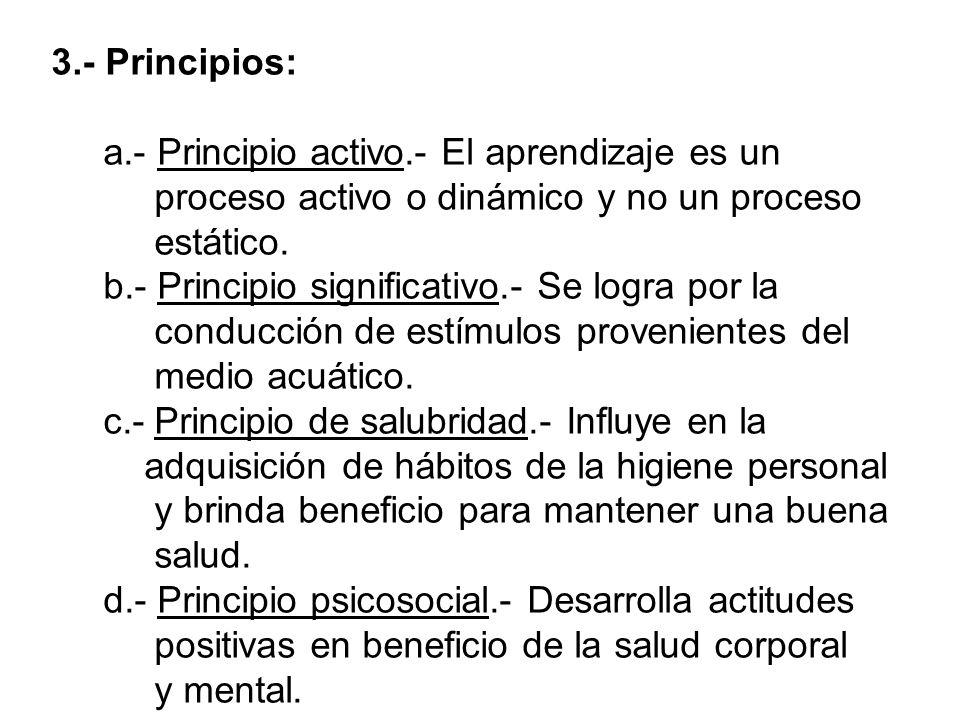 3.- Principios: a.- Principio activo.- El aprendizaje es un proceso activo o dinámico y no un proceso estático. b.- Principio significativo.- Se logra