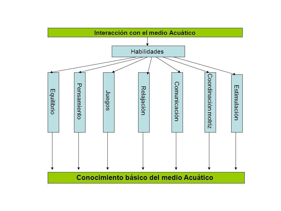 Interacción con el medio Acuático Habilidades Equilibrio Pensamiento Juegos RelajaciónComunicaciónCoordinación motriz Conocimiento básico del medio Ac