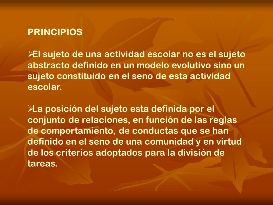 PRINCIPIOS El sujeto de una actividad escolar no es el sujeto abstracto definido en un modelo evolutivo sino un sujeto constituido en el seno de esta