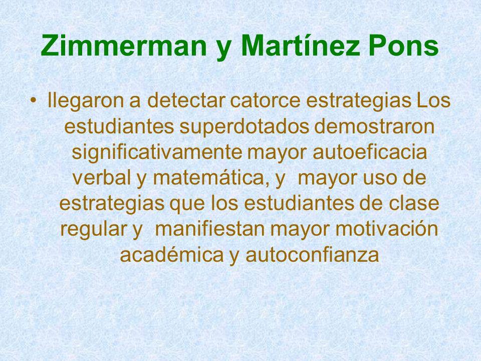 Zimmerman y Martínez Pons llegaron a detectar catorce estrategias Los estudiantes superdotados demostraron significativamente mayor autoeficacia verb