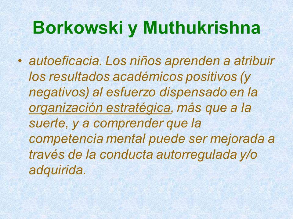 Borkowski y Muthukrishna autoeficacia. Los niños aprenden a atribuir los resultados académicos positivos (y negativos) al esfuerzo dispensado en la or