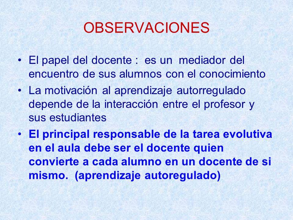 OBSERVACIONES El papel del docente : es un mediador del encuentro de sus alumnos con el conocimiento La motivación al aprendizaje autorregulado depend