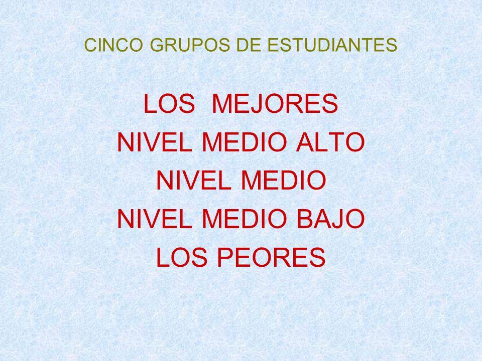 CINCO GRUPOS DE ESTUDIANTES LOS MEJORES NIVEL MEDIO ALTO NIVEL MEDIO NIVEL MEDIO BAJO LOS PEORES