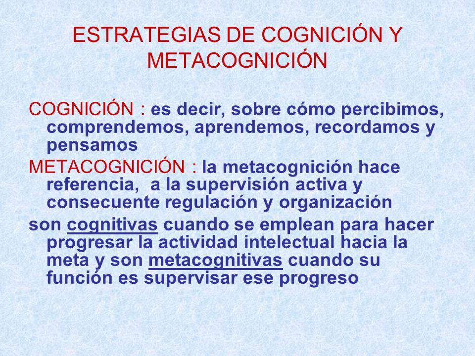 ESTRATEGIAS DE COGNICIÓN Y METACOGNICIÓN COGNICIÓN : es decir, sobre cómo percibimos, comprendemos, aprendemos, recordamos y pensamos METACOGNICIÓN :