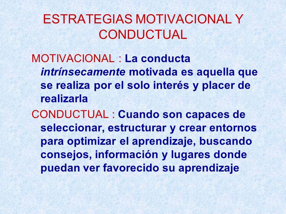 ESTRATEGIAS MOTIVACIONAL Y CONDUCTUAL MOTIVACIONAL : La conducta intrínsecamente motivada es aquella que se realiza por el solo interés y placer de re