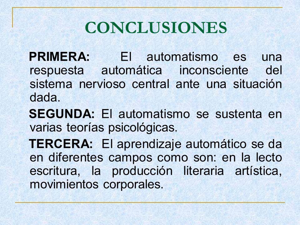CONCLUSIONES PRIMERA: El automatismo es una respuesta automática inconsciente del sistema nervioso central ante una situación dada. SEGUNDA: El automa