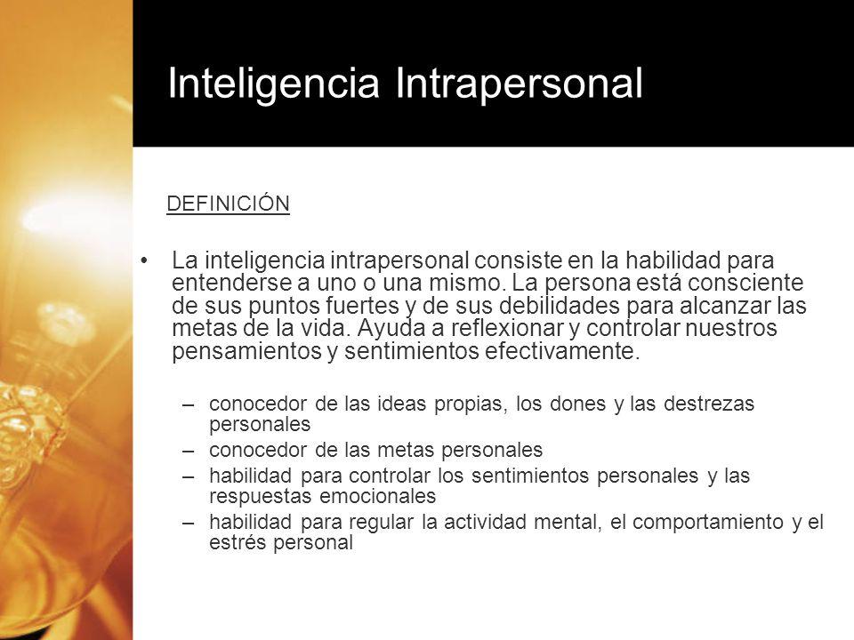 La inteligencia intrapersonal consiste en la habilidad para entenderse a uno o una mismo. La persona está consciente de sus puntos fuertes y de sus de