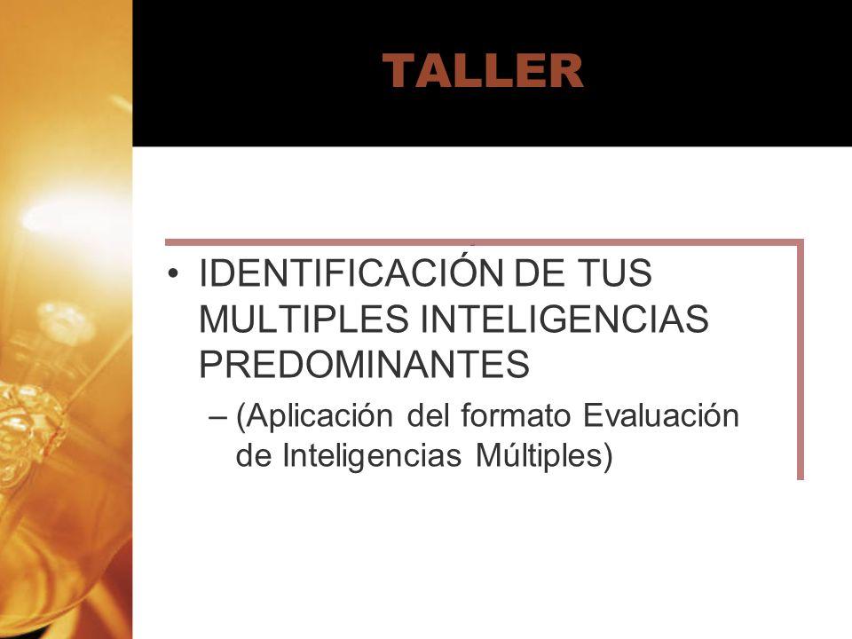 TALLER IDENTIFICACIÓN DE TUS MULTIPLES INTELIGENCIAS PREDOMINANTES –(Aplicación del formato Evaluación de Inteligencias Múltiples) IDENTIFICACIÓN DE T
