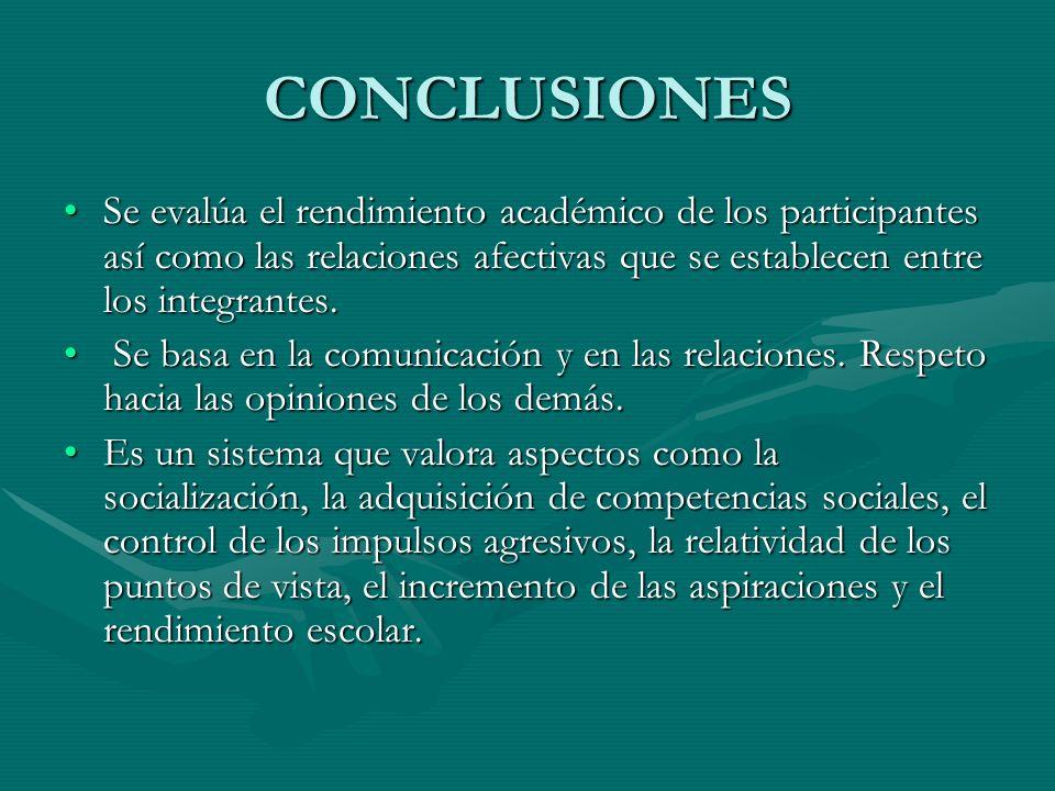 CONCLUSIONES Se evalúa el rendimiento académico de los participantes así como las relaciones afectivas que se establecen entre los integrantes.Se eval