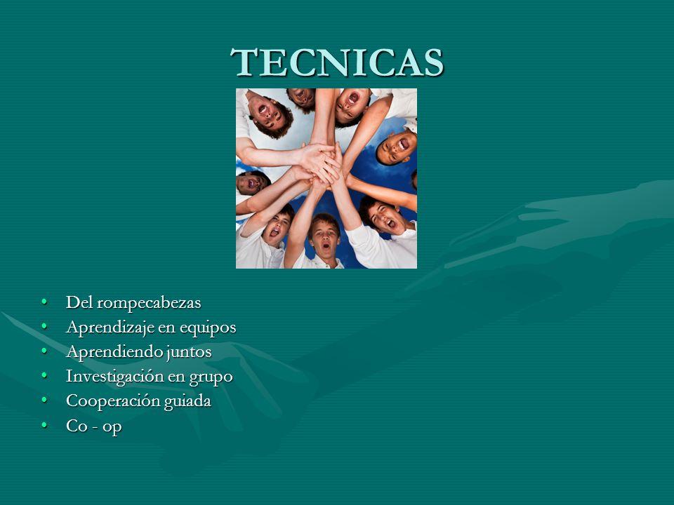 TECNICAS Del rompecabezas Aprendizaje en equipos Aprendiendo juntos Investigación en grupo Cooperación guiada Co - op