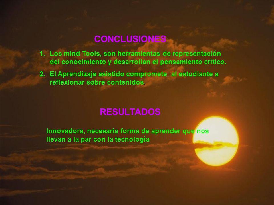 CONCLUSIONES 1.Los mind Tools, son herramientas de representación del conocimiento y desarrollan el pensamiento crítico. 2.El Aprendizaje asistido com