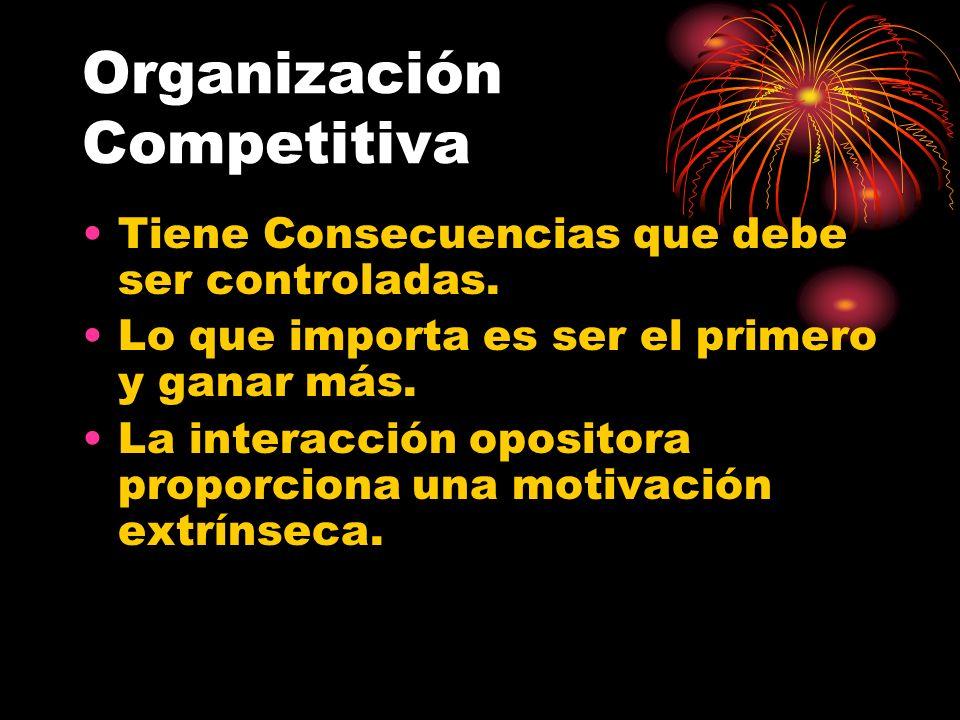 Organización Competitiva Tiene Consecuencias que debe ser controladas. Lo que importa es ser el primero y ganar más. La interacción opositora proporci