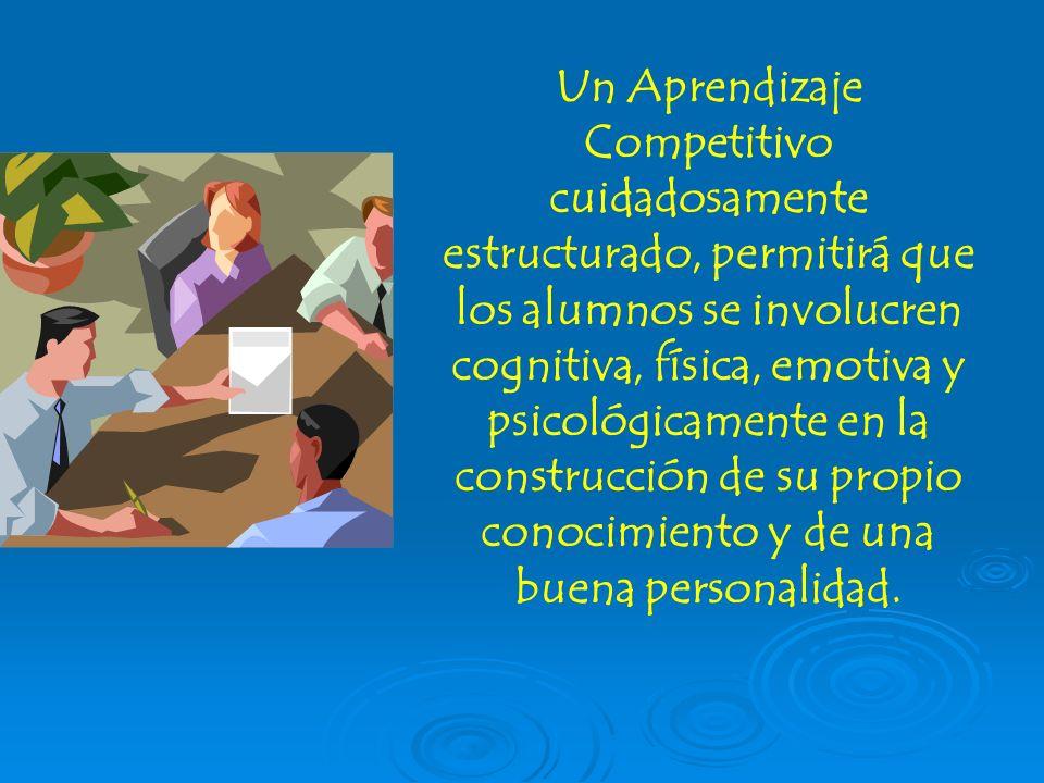 Un Aprendizaje Competitivo cuidadosamente estructurado, permitirá que los alumnos se involucren cognitiva, física, emotiva y psicológicamente en la co
