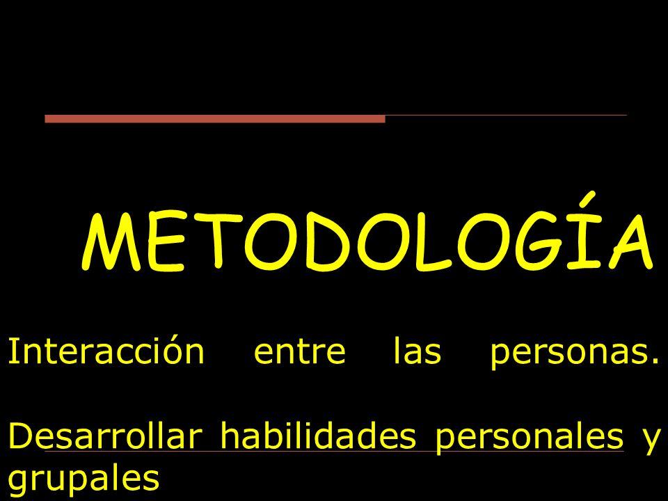 METODOLOGÍA Interacción entre las personas. Desarrollar habilidades personales y grupales
