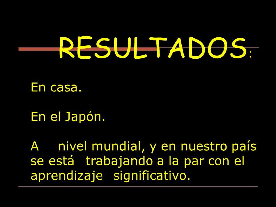 RESULTADOS : En casa. En el Japón. A nivel mundial, y en nuestro país se está trabajando a la par con el aprendizaje significativo.