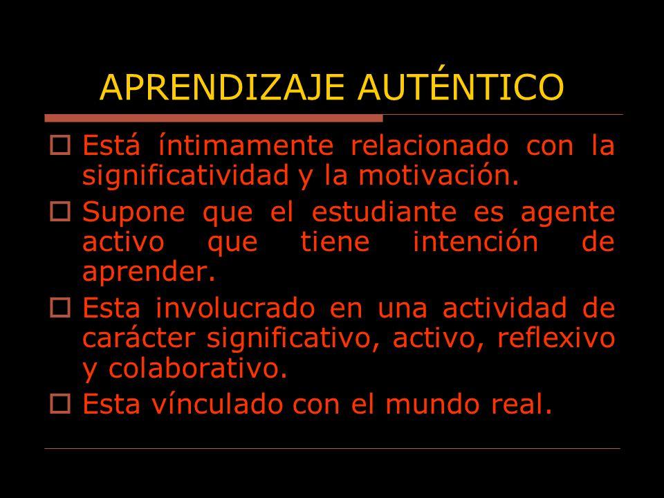 Está íntimamente relacionado con la significatividad y la motivación. Supone que el estudiante es agente activo que tiene intención de aprender. Esta