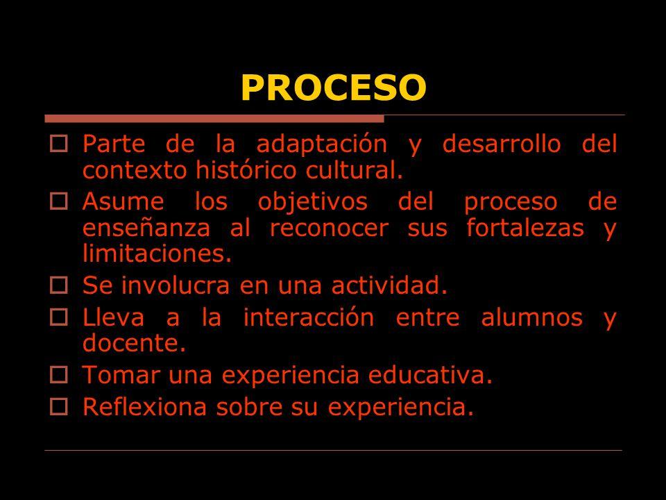 PROCESO Parte de la adaptación y desarrollo del contexto histórico cultural. Asume los objetivos del proceso de enseñanza al reconocer sus fortalezas