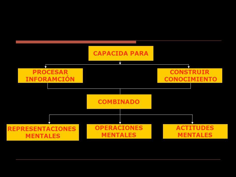 CAPACIDA PARA CONSTRUIR CONOCIMIENTO PROCESAR INFORAMCIÓN COMBINADO OPERACIONES MENTALES ACTITUDES MENTALES REPRESENTACIONES MENTALES