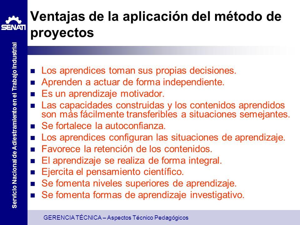 GERENCIA TÉCNICA – Aspectos Técnico Pedagógicos Servicio Nacional de Adiestramiento en el Trabajo Industrial Ventajas de la aplicación del método de p