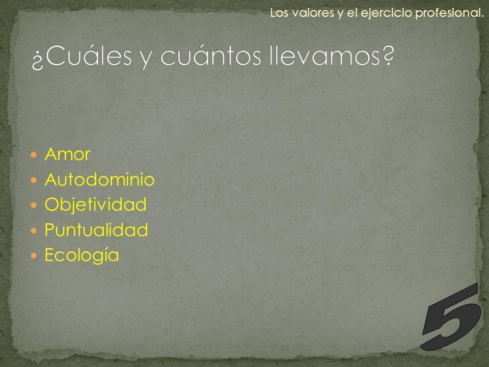 Amor Autodominio Objetividad Puntualidad Ecología Los valores y el ejercicio profesional.