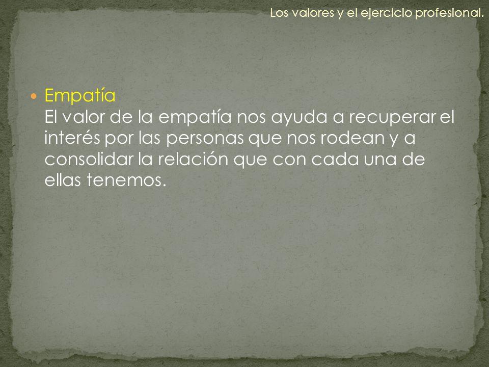 Empatía El valor de la empatía nos ayuda a recuperar el interés por las personas que nos rodean y a consolidar la relación que con cada una de ellas t
