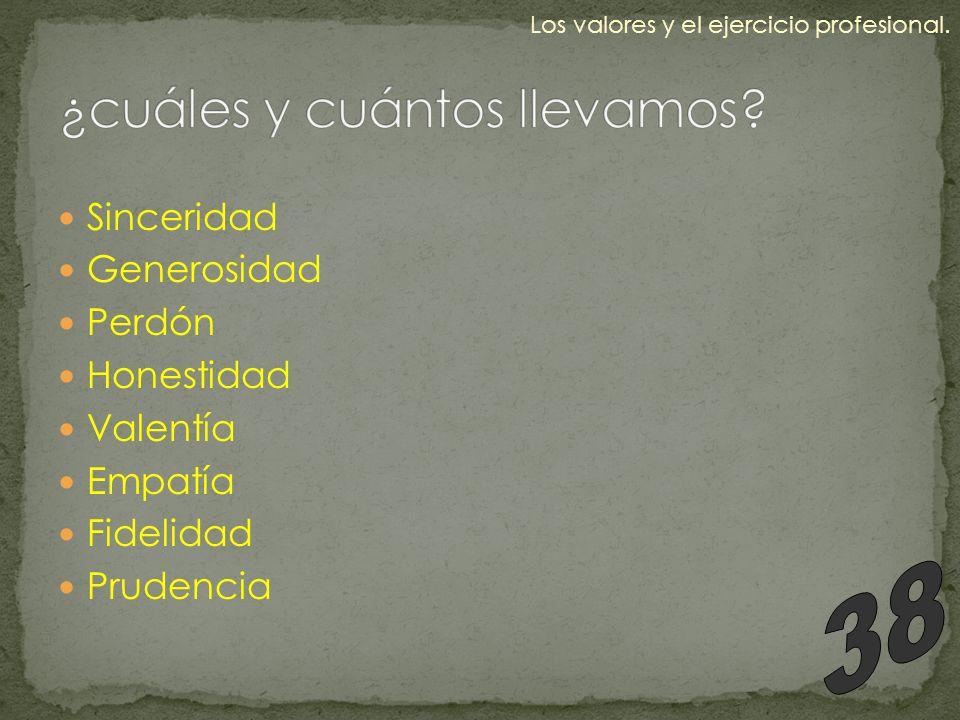Sinceridad Generosidad Perdón Honestidad Valentía Empatía Fidelidad Prudencia Los valores y el ejercicio profesional.