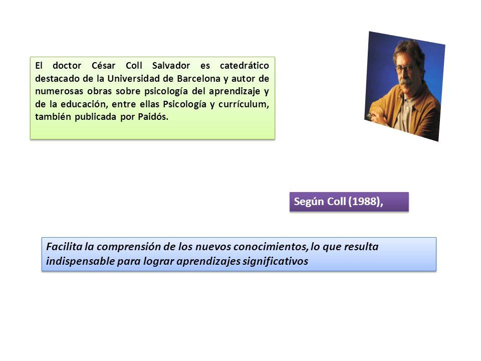 Según Coll (1988), El doctor César Coll Salvador es catedrático destacado de la Universidad de Barcelona y autor de numerosas obras sobre psicología del aprendizaje y de la educación, entre ellas Psicología y currículum, también publicada por Paidós.