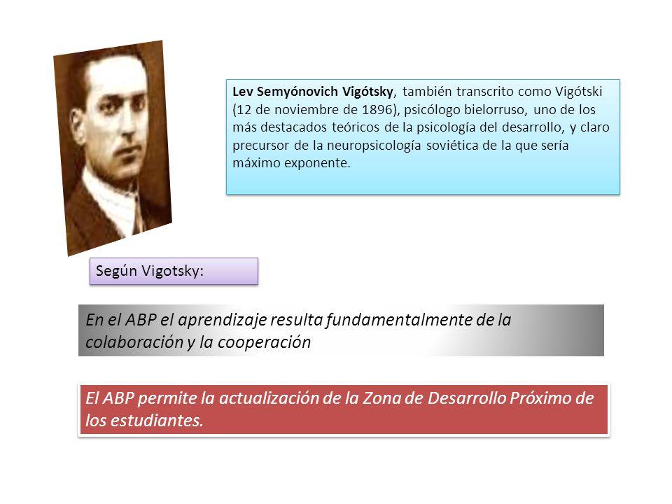 En el ABP el aprendizaje resulta fundamentalmente de la colaboración y la cooperación Lev Semyónovich Vigótsky, también transcrito como Vigótski (12 de noviembre de 1896), psicólogo bielorruso, uno de los más destacados teóricos de la psicología del desarrollo, y claro precursor de la neuropsicología soviética de la que sería máximo exponente.